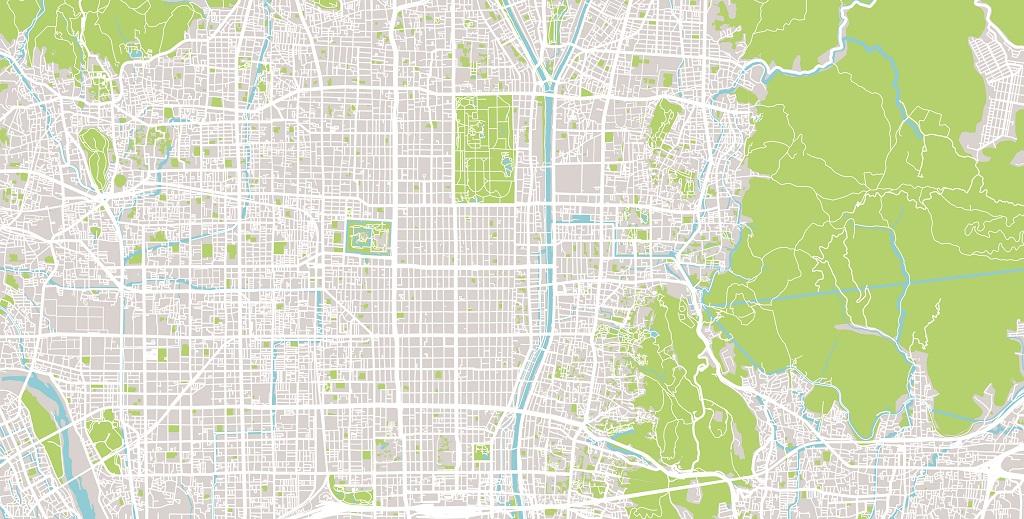 京都市全景地図 イラスト