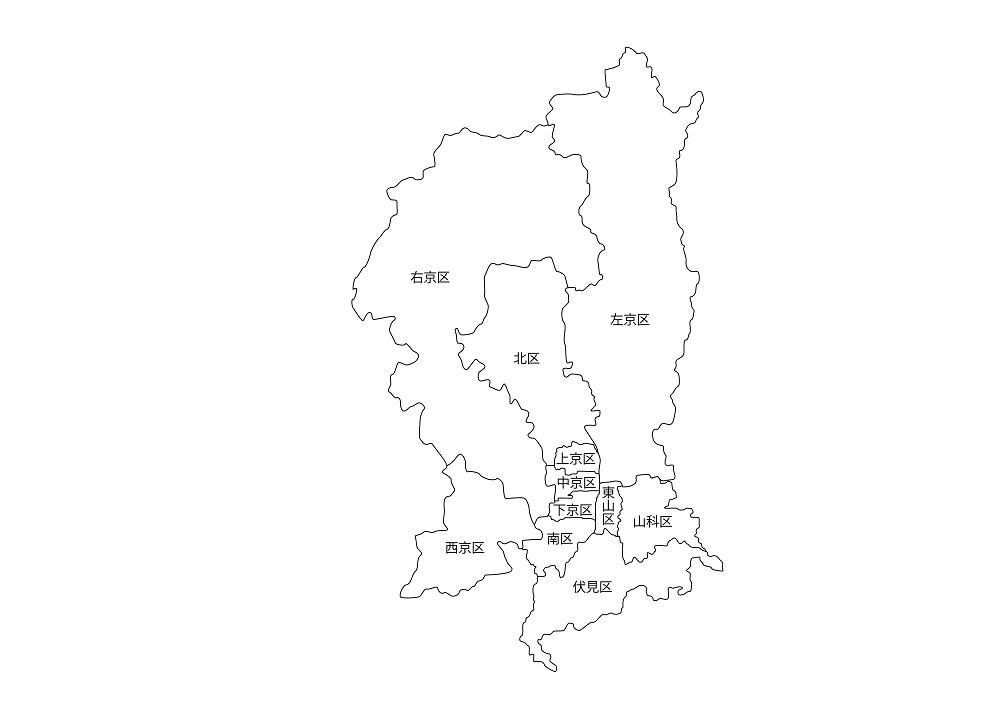 京都市の11区を示した地図
